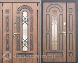 Входная металлическая дверь со стеклопакетом и ковкой 9,5 см Vikont 1200