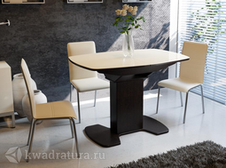 Стол обеденный Портофино 01 Венге/Стекло бежевое